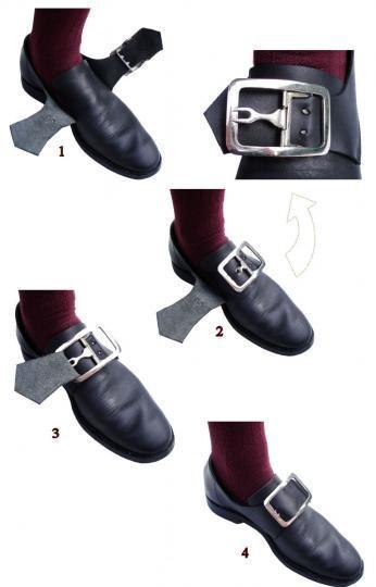 Chaussures officier cuir lisse XVIII ème et premier empire